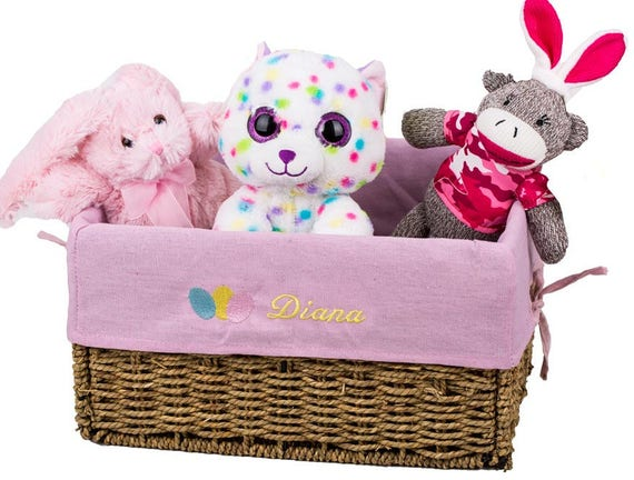 Free shipping personalized easter basket with embroidered like this item negle Image collections