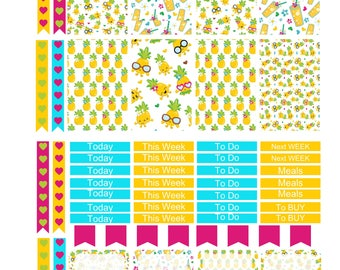 PINA COLADA  Weekly Planner Sticker Kit/Printable's Happy Planner Classic Instant Download /