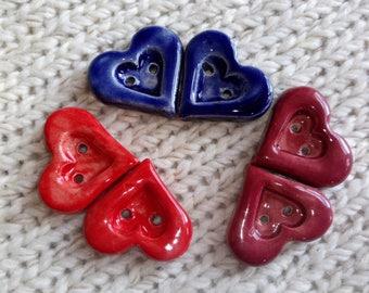 Handmade buttons heart made of ceramics, red, blue, Claret, set/5 or 6STCK