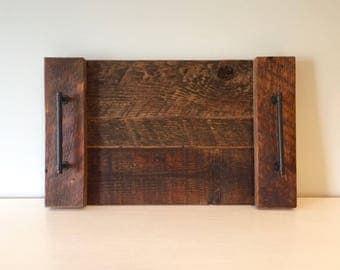 Medium Serving Tray - Vintage Reclaimed Barn Wood - Walnut Stain