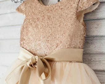 Gold Sequin Tulle Girl Dress, Cape Sleeves Champagne Flower Girl Dress, Toddler Tutu Dress, Baptism Christening Dress, Birthday Party
