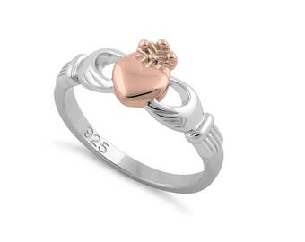 Claddagh Celtic Ring Sterling Silver Two Tone Rose Gold Plated