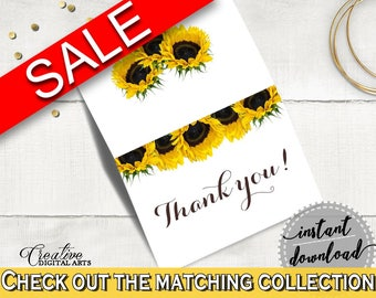 Thank You Card Bridal Shower Thank You Card Sunflower Bridal Shower Thank You Card Bridal Shower Sunflower Thank You Card Yellow White SSNP1