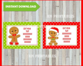Christmas Printable Gift Tags - Gingerbread - Instant Download - Type you own text Editable