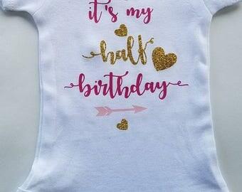 Half birthday onesie