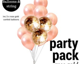 Bulk 12 Pack Rose Gold Balloons DIY Party Pack mix 30cm with Rose Gold and rose gold confetti  Balloon
