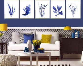 Seaweed painting Set of 5 Seaweed print Indigo Seaweed decor Seaweed poster Blue Seaweed Nautical decor Seaweed decor Beach house decor