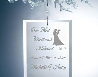 Our First Christmas Ornament - Wedding Ornament- Glass Ornament - Bridal Shower Gift - Personalized Couple's First Christmas -