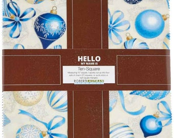 "Robert Kaufman - Holiday Flourish 10 Blue Metallic Colorstory Ten Squares/Layer Cake by Peggy Toole - 42, 10"" x 10""  Precut Fabric Squares"