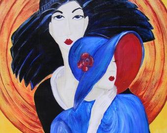 Art Deco Style Original 20 x 24 Canvas