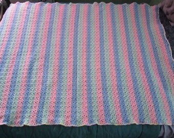 Handmade crochet pastel Blue, Pink & Green shell afghan/blanket w/ multi-colored pastel border - ready to ship