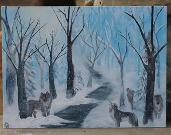 Wolves in Wintertime Snowy Forest