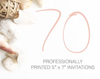 70 Professionally Printed Invitations White Envelopes Included And Free US Shipping, Printed Invitations