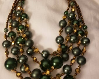 Gorgeous Signed Vendome Faux Green Pearl Glass Bead Multi Strand Necklace