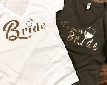 Bachelorette Shirts Rose Gold Vneck