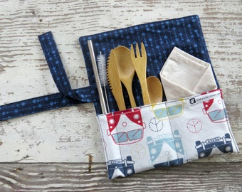 Zero waste lunch box utensils, On the go kit, zero waste kit, travel utensil case, zero waste silverware set, reusable straw, VW peace signs