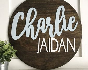 "24"" Round Name Sign - Circle Name Sign - Wood Name Sign - Family Name Sign - Baby Name Sign - Wood Letter Sign - Custom Name Sign - Custom"