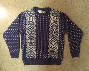 "Vintage ""Pringle"" Fair Isle Sweater, Size S, Indigo/Purple, Made in Scotland"