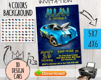 Hot Wheels invitation +free Thank you cards. Hot Wheels Party Printables. Cars Invitation. Hot Wheels birthday invitation. Racing Invitation