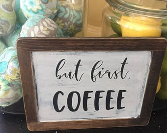 Coffee Word Art, Painted Chalkboard Sign, But First Coffee Wall Decor, Kitchen Art