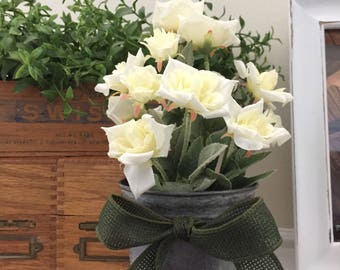 White Rose Floral in Tin Pot, Mother's Day
