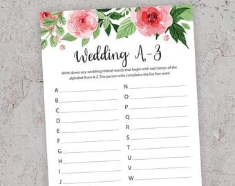 Wedding A-Z Game, Bridal Shower Games, Floral Bridal Shower, Printable Bridal Shower, Bridal Alphabet Race Game, A to Z Shower Game, J003