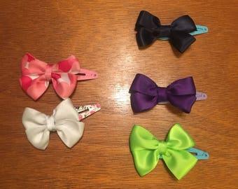Double ribbon bow snap hair clip
