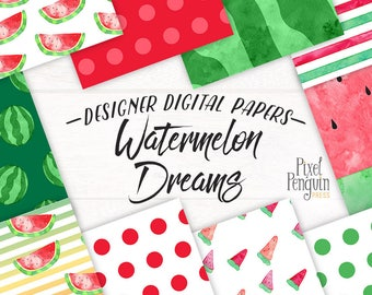 Digital Paper Pack Summer, Watermelon Planner Graphic, Watercolor Pattern Paper, Summer Fashion Digital Paper, Planner Sticker Pattern