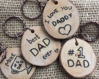 Key ring for him - personalised wooden key ring