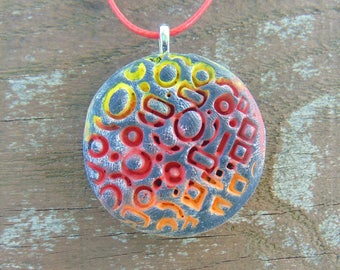 Geometric Pattern Clay Pendant Necklace - Handmade Tribal Pattern Charm - Warm Colors Gradient Necklace - Hand Painted Polymer Clay
