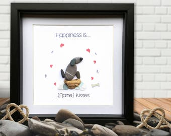Happiness.... Doggy Kisses Personalised Gift. Personalised Framed Pebble Picture. Dog Pebble art