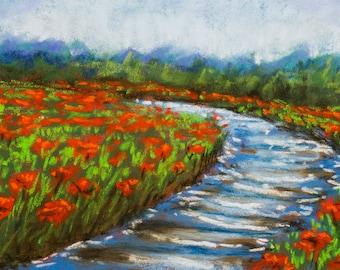 Poppy field riverside | Original Pastel Painting