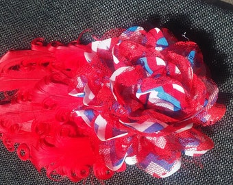 Red, white and blue feather pad hair clip SALE