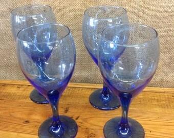 Vintage Libbet Colbalt Blue Wine Glasses