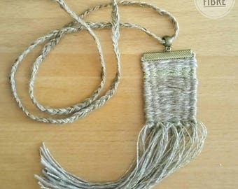 Weaving in beige linen and lurex pendant / / rustic necklace / / bohemian necklace / / fiber jewelry / / gift for woman / / Necklace