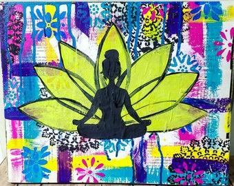 Yoga Girl Mixed Media Print of Original Artwork, Lotus Girl, Meditation Art