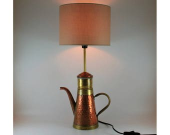 Vintage copper & brass coffee pot converted to unique table light