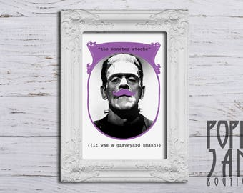 """The Monster Stache // 8""""x10"""" Instant Download Art Print // Halloween Décor // Quirky Wall Art // Printable"""