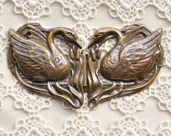 Double Swan Cape or Belt Buckle or Hook and Eye Antiqued Gold or Copper Toned Brass Stamping 2 Pieces