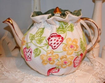 SMALL SIZED 4-5 Cup Strawberry Tea Cozy which fits snug around the teapot that holds up to 30 oz.  One of a kind.