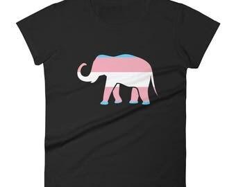 Trans Pride Elephant Women's short sleeve t-shirt lgbt lgbtqipa lgbtq mogai pride flag