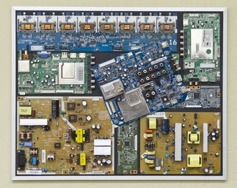 """Industrial, Computer, Circuit Board Picture Frame Wall Art (20.5"""" x 16.5"""")"""