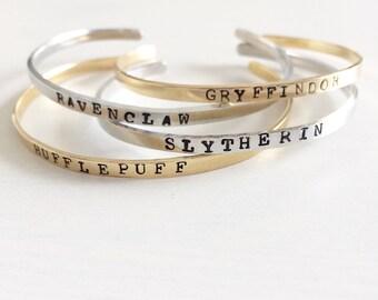 Gryffindor, Slytherin, Ravenclaw, Hufflepuff, Harry Potter Bracelet, Handstamped cuff, Harry Potter Jewelry, Hogwarts school houses