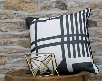 Geometric Monochrome Cushion with Grey Piping