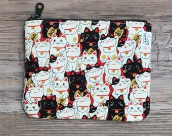 Coin Purse – Lucky Fortune Money Maneki Neko Cats Japanese Fabric Handmade Zipper Pouch, Wallet, Earbuds Case, Zippered Bag, Change Purse