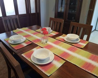 Handmade table runner and matching placemats -Sunrise green