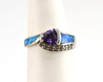 Amethyst Ring, Opal Ring, Size 5.5, Sterling Silver, Vintage Ring
