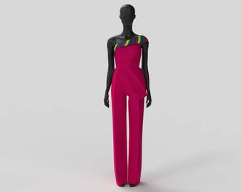 Custom Made African Print One Shoulder Peplum Jumpsuit (Bridal Satin/Brocade )