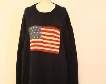 VINTAGE Polo by Ralph Lauren American Flag Knit Sweater