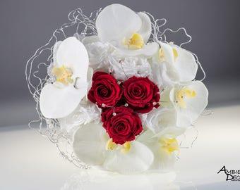Preserved wedding bouquet white bridal bouquet preserved flowers preserved roses wedding bouquet preserved flowers rose carnation bouquet